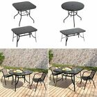 Garden Table Chairs Black Furniture Set Indoor Outdoor Dining Table Parasol Hole