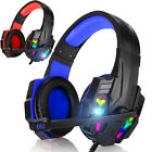 Stereo Bass Surround Gaming Headset RGB LED Headphone for PS4 Xbox One Tablet PC