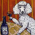 poodle having a drink animal dog art tile coaster new