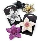 NEW METALLIC SEQUIN FLOWER HAIR CORSAGE FASCINATOR CLIP