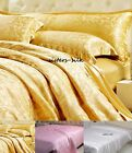 19MM 100% SILK JAQUARD DUVET COVER EXTRA DEEP FITTED SHEET PILLOW SHAMS SET SIZE
