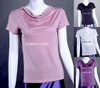 Womens Ladies 100% Pure Silk Knit T-Shirts Cowl Neck Short Sleeve Tee AF057