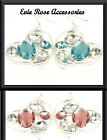 NEW LARGE OVERSIZE JEWEL CLUSTER SILVER HEART DROP STATEMENT EARRINGS PINK BLUE