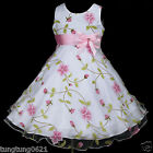 p006 UsaG tu2 Pink Dance Halloween Summer Flower White Party Girls Dress 2-12y