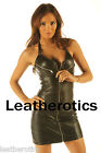 Genuine leather mini dress open bust lace up top tight fit m30