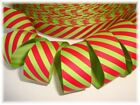 7/8 CHRISTMAS RED LIME DIAGONAL STRIPE GROSGRAIN RIBBON 4 HAIRBOW BOW