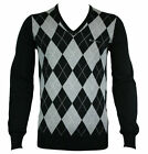 Ben Sherman Haddington (B13) V Neck Argyle ME00004 Black Mens L/S Jumper XXL