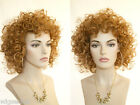 Mid Length, Curly Style Blonde Brunette Red Layered Wigs with Bangs