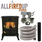 5kw Cast Iron Wood Burning Multi Fuel Stove + Complete Flexible Flue Lining Kit