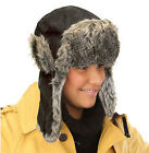 LADIES MENS BLACK SUEDE FUR TRAPPER HAT WARM WINTER NEW