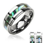 Tungsten Carbide Abalone Inlay Wedding Band Ring Size 5-13 New T11
