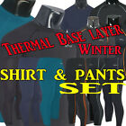 MENS WOMENS Winter Thermal  base layer skin compression tight shirt pants set
