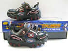 Skechers Hot lights Damager-police Blk/Navy/Red Flashing Riptape Trainners