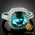 Arinna Ladies Great Square Blue Zircon Cocktail Ring White GP Swarovski Crystal