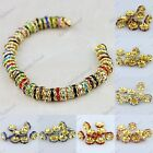 WHOLESALE VARIOUS COLORS CRYSTAL GOLD SPACER LOOSE BEADS JEWELRY FINDINGS 3SIZES