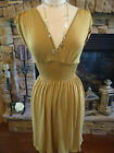 Mustard Brown Tie Back Stretchy Dress Small  Medium Large BNWT