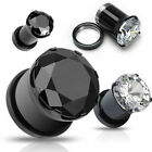 Pair Titanium Prong Set CZ Hollow Screw Fit Plugs Earrings Tunnels Gauges