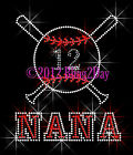 NANA Baseball Bat - Pick Your 2 #'s - Rhinestone Iron on Transfer Hot Fix Custom