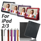 Leather Flip Case Cover Stand & Screen Protector for Apple New iPad 3 HD iPad 2