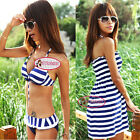 Nautical Stripes Push Up Bikini Set Cover Up Dress Swimsuit Bathing Suit UW202