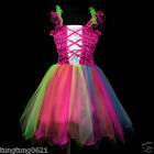 m004 UsaG Halloween Colorful Dance Party Magenta Ballet Tutu Girls Dress 1,2-9y