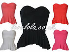 WOMENS BOOB TUBES LADIES QUALITY PEPLUM BANDEAU TOPS STRAPLESS TOPS SIZE 8 - 14