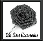 NEW Rockabilly Kitsch Pinup Black Metallic Silver Rose Hair Flower Corsage Clip