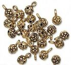 6 OR 24 Antiqued Gold Finished Pewter Nugget Slider Beads with Loop *  6mm