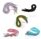 60pcs Braided Mixed Leather Necklace Cord With Lobster Clasp 46cm Pick Color