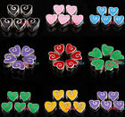 FREE POSTAGE Mixed Heart Shaped Enamel Charms European Beads Fit Bracelets PICK