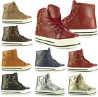 Womens High Hi Top Lace Up Platform Trainers Pumps Ankle Spike Flat Shoes Boots