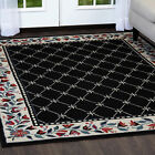 BLACK FLORAL ORIENTAL LATTICE BORDER AREA RUG COUNTRY PERSIAN CARPET
