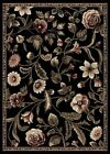 BLACK GREEN PLUM TROPICAL FLORAL AREA RUG BOLD LEAVES CASUAL BORDERED CARPET