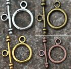 30 Sets Gold/Silver/Bronze/Copper Tone Round Toggle Clasps Necklace Findings
