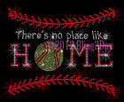 Softball Stitching - No Place Like Home Rhinestone Iron on Transfer Hot Fix Mom