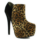 Womens Ladies High Heel Concealed Platform Pointed Toe Leopard Ankle Shoe Boots