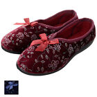 Ladies Traditional Floral Pattern Full Slippers With Ribbon Bow & Non Slip Sole