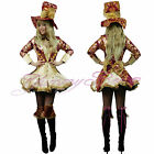 Mad Hatter Fancy Dress Costume Womens Plus Size Alice Wonderland Queen Fairytale