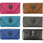 New Ladies Womens Leather Style Diamante Skull Stud Clutch Bag Purse Handbag