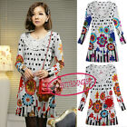 Casual Floral Long Sleeves Shift Long Sleeves Mini Jumper Sweater Dress UJ604