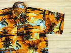Hawaiihemd Hawaii Hawai Hemd orange gelb Palmen schwarz