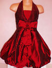 GIRLS BURGUNDY BOW PUFFBALL HALTERNECK BRIDESMAID PROM PARTY DRESS with SCARF