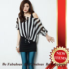 Black White Punk Star Rock Pin Striped Chiffon With Lace Crochet Tank Top M-L