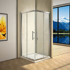 Aica Walk In Shower Enclosure and Tray Corner Entry  Glass Cubicle Double Door