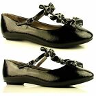 WOMENS LADIES FLAT BLACK PATENT DOLLY BALLERINA STRAP BOW SCHOOL SHOES SIZES