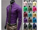 Mens Luxury Casual Slim Fit Stylish Solid Color Dress Shirts Style 17 Colors