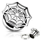 Pair Steel Spider Web Plate Top Screw Fit Ear Plugs Tunnels Earrings Gauges