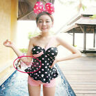 Cute One Shoulder Bandeau Pink Polka Dot Tankini Set Bademode Badeanzug GW405
