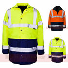2 Tone Parka Hi Viz Waterproof Storm Padded Jacket Mens Coat Workwear Security
