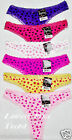 6 SEXY THONG PANTIES LACE TRIMED HEART PRINT LP7134PT LOT NEW S/5 M/6 L/7 XL/8